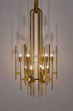 Sciolari brass chandelier, 12 lights, 1970`s ca, Italian in Vintage Sciolari Lighting from Roomscape