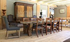 The Pierre Cronje showroom in Wynberg, Cape Town - 1½ Wolfe st, Chelsea Village. (Victorian, Sandveld and Hampton chairs surround a chunky Hampton table. In the background, a flat top Armoire, King chairs, and plant stands) King Chair, Plant Stands, Fine Furniture, Cape Town, The Hamptons, Showroom, Armoire, Chelsea, Chairs