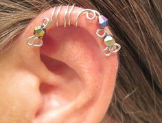 "No Piercing ""Peacock"" Ear Cuff for Upper Ear 1 Cuff Silver Tone with Colorful Crystals or 17 COLOR CHOICES. $10.00, via Etsy."