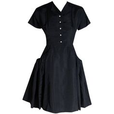 Preowned 1950's Pauline Trigere Black Silk Rhinestone Sculpted Pockets... (1,560 CAD) ❤ liked on Polyvore featuring dresses, black, rhinestone cocktail dress, sparkly cocktail dresses, holiday dresses, black evening dresses and little black dress