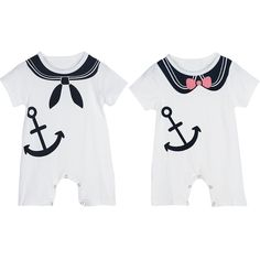 Baby Infant Toddler Kids Short Sleeve Anchor Print Rompers Jumpsuit Clothes Outfit  0-12M