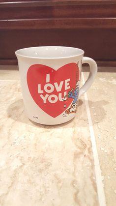 Vintage VTG 80's Smurfs I Love You Painter Valentines Coffee Mug Cup Cartoon