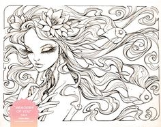 """""""Memories of You"""" - inked. Tea wash and color coming later! This girl needs a little extra sleep tonight. ©Kellee Riley and KelleeArt Design Studio, LTD. Memories of You - Inks Art And Illustration, Illustrations, Disney Drawings, Art Drawings, Coloring Book Pages, Female Art, Zentangle, Painting & Drawing, Line Art"""