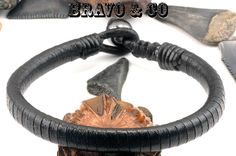 Genuine Kangaroo Leather Magnetic Hematite Bangle Wristband Men Bracelet