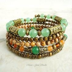 Memory Wire Bracelet, Earthy Gemstone Beaded Bangle Wrap Around, Aventurine, Amber, Brass, Green Orange, Boho Gypsy on Etsy, $39.95