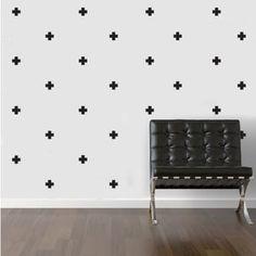 Muurstickers - Kruisjes Ook te verkrijgen: druppels - sterren - hartjes - stippen - huisjes MevrouwEmmer.nl   Sticker kruisje huisje stip druppel hartje sterretje wallart confetti Wall muur