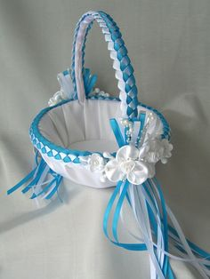 Wedding Flower Girl Basket Turquoise and White or by SisiCreations, $48.00