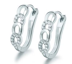 New Style Ladies Huggie Earrings Fashion Desirable Round Brilliant White Topaz Earing Woman Hoop Earring ** You can find more details by visiting the image link. Note:It is Affiliate Link to Amazon.