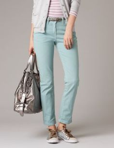 Nice color, but I don't know about the length. They'd certainly work rolled up.  Cropped Jeans $88.00