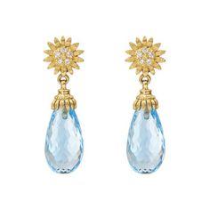 Bielka 18k Gold & Diamond Sunflower Earrings with Blue Topaz Drops