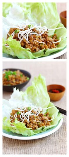 Lettuce wraps with chicken and mushroom. Easy lettuce wraps recipe that is better than PF Chang's lettuce wraps and takes 15 minutes. A must try Chinese recipe | http://rasamalaysia.com