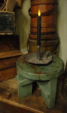 Old Chippy Green Stool...prim firkins & candlelight.