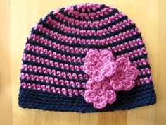 two colour stripey crochet beanie {free crochet pattern}