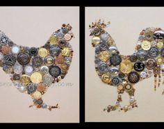 CHICKEN 27 8x10 Button Art Button Artwork Buttons by CherCreations