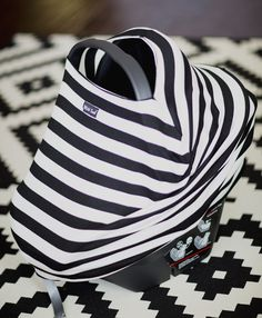 LOVE this company--check them out MILK SNOB™ SLOUCHY CAR SEAT COVER B&W Striped - MilkSnob