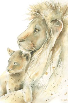 Lion Father and Cub watercolor print, Father and son or father and daughter,for him, watercolor painting