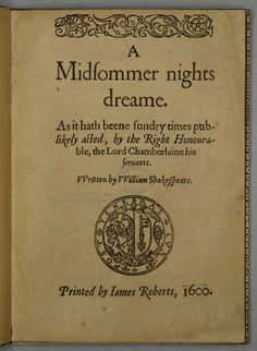 William Shakespeare, Quartos, A Midsommer nights dreame, 1600
