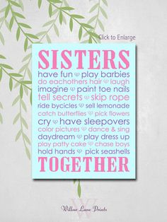GIRLS 8x10 PRINT, Twin Sisters Nursery Decor, Sisters Subway Wall art, Girls bedroom decor, sisters nursery prints, children's wall art on Etsy, $18.00