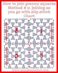 Cómo unir cuadrados granny a crochet o ganchillo