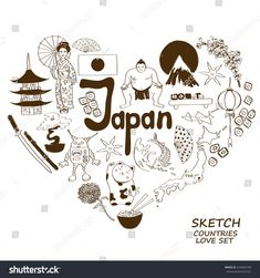 Sketch collection of Japanese symbols. Heart shape concept. Travel background