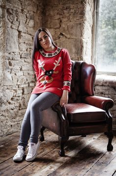 Women's Rudolph Christmas Jumper from the Christmas Jumper Company.   http://www.christmasjumpercompany.co.uk/womens-christmas-jumpers-red/4553315094