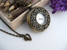 Quartz Cherry Blossom Pocket Watch Necklace by ArtInspiredGifts, $34.00