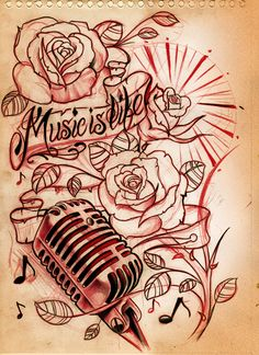 like the microphone, and the music notes incorporated with the roses, not the scroll