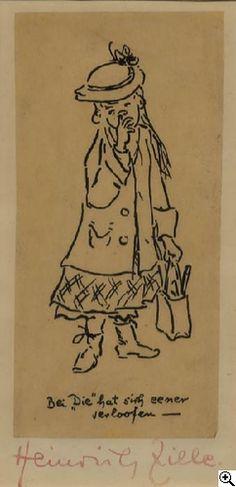 """Heinrich Zille: """"Bei 'Die' hat sich eener verloofen --"""" (Kleines Mädchen) aus unserer Rubrik: Moderne Gemälde, Zeichnungen, Aquarelle"""