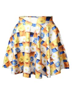 Orange Daisies Printed Cute Ladies Pleated Skirt