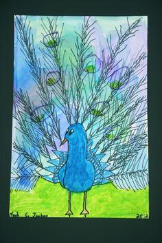 g4 4/5 sharpie watercolor pastel peacocks