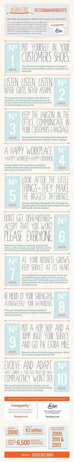 #ServiceFirst 10 Commandments | #infographics repinned by @Piktochart