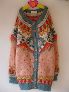 """I love vintage """"granny chic"""" jumpers and cardies like these! Fair Isle Knitting, Hand Knitting, Knitting Wool, Vintage Knitting, Laine Rowan, Knitting Designs, Knitting Patterns, Knitting Tutorials, Stitch Patterns"""