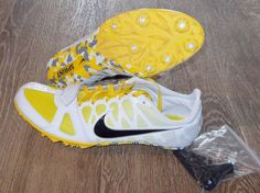 NEW NIKE ZOOM RIVAL S 6 SPRINT Running TRACK FIELD SPIKES Mens White Yellow #Nike #TrackCleats