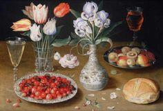 Osias Beert, Still life with lilies, roses, tulips, cherries and wild strawberries on ArtStack #osias-beert #art