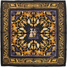 HERMES SCARF Silk Early America by Françoise De La by EXANYC, $389.95