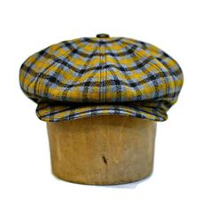 be7e1b524045c Newsboy Cap in Vintage Wool Crepe in Gray and Mustard Yellow Plaid -  Newsboy Hat - Men s Hat - Made to Order