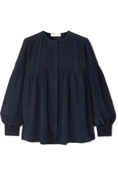 ChloÉ Pleated Long Sleeve Silk Blouse In Navy Frock Fashion, Hijab Fashion, Fashion Dresses, Gothic Fashion, Pencil Skirt Black, Pencil Skirts, Kurta Designs, Silk Crepe, Couture