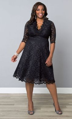 Here is the feminine plus size black lace party dress Mademoiselle style from Kiyonna!