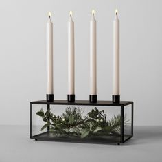 NEW! 4 Candle Holder Hearth /& Hand with Magnolia Tabletop Candelbra Pewter