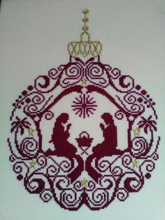 Cross stitch Nativity bauble Cross Stitch For Kids, Needlepoint, Nativity, Tatting, Stencils, Projects To Try, Embroidery, Christmas Ornaments, Winter