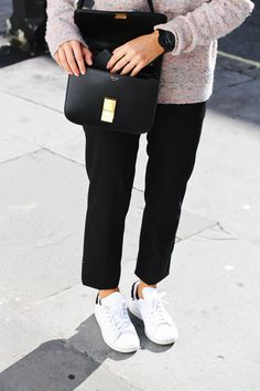 Celine box bag, speckled pink sweater, cropped black pants and Adidas Stan  Smith sneakers 6b5a42c140