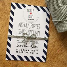 Navy Spots+Stripes save the date card finished with silver bakers twine Striped Wedding, Bakers Twine, Candy Stripes, Retro Look, Save The Date Cards, Stripes Design, Sticker Design, Wedding Stationery, Getting Married