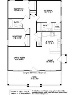 simple rectangular house plans with 2 bathrooms and garage porch at front - Small 3 Bedroom House Plans 2