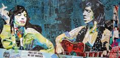 """Saatchi Art Artist Ines Kouidis; Collage, """"doin' our thing!"""" collage of the Rolling Stones Mick Jagger and Keith Richards made of original Magazines"""