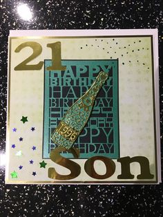 Tattered lace champagne bottle and birthday plaque. Crichton numbers and letters.