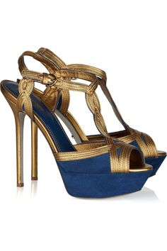 san francisco c1dd5 7537b Sergio Rossi suede and leather sandals BlueSuedeShoes Suede Leather,  Leather Heels, Suede Shoes