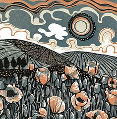 'Poppy Field' - Jane Walker (Linocut)