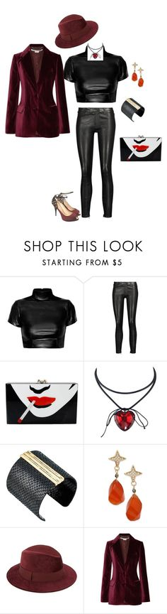 """Velvet and Leather"" by scoutmass on Polyvore featuring J Brand, Charlotte Olympia, The Sak, Paul & Pitü Naturally, Saks Fifth Avenue, STELLA McCARTNEY and Giuseppe Zanotti"