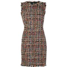 Alexander McQueen Wishing Tree Tweed fitted dress (€2.535) ❤ liked on Polyvore featuring dresses, tight dresses, zip back dress, round neck dress, gothic lolita dress and panel dress