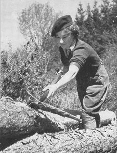 A member of the Women's Timber Corps stripping the bark from a tree to be used as a telegraph pole ~